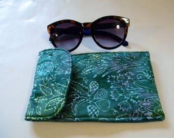 Green Leaf Batik Sunglasses Case