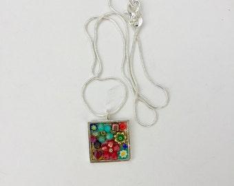 Gift for flower girl, Flower power necklace, micro mosaic pendant, camilla klein, flower jewelry, garden mosaic, valentines day present