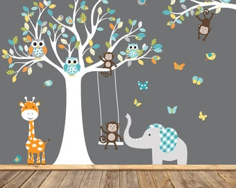 Nursery Wall Tree Decal, Nursery Owl Monkey Wall Decal,Vinyl Decals, Monkey Art, Elephant Wall Art
