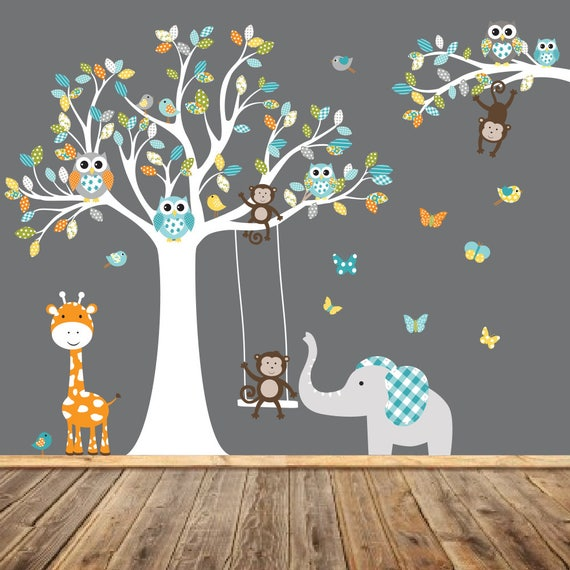 Tree Owl Monkey Elephant Wall Decal by wallartdesign
