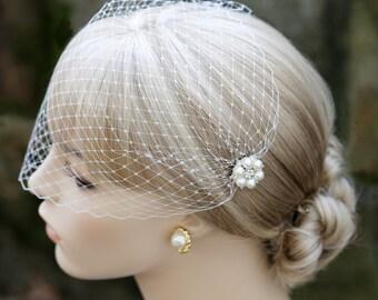 Bandeau Style Veil Pearl Rhinestone Flower Combs Ivory Veil Wedding Blusher Bridal French Veil
