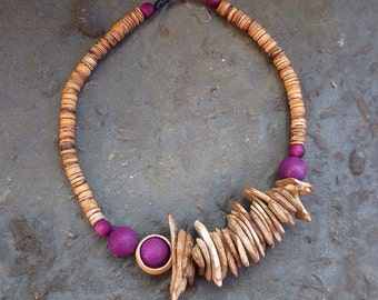 Tagua Necklace, Purple Tagua, Tagua Jewelry, Asymmetric Necklace, Natural Necklace, Organic Jewelry, Rustic Necklace, Coconut Chips