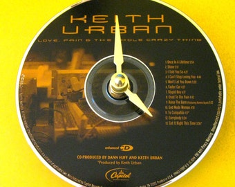 CD clock.  Keith Urban. Country music. Country music clock. Recycled CD. Music clock.