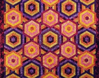 Quilted Batik Hexagon couch throw table cloth wall hanging