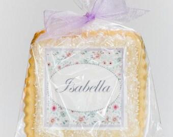 custom cookie favors baptism confirmation lavender floral