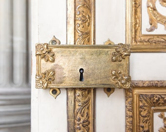 Golden Door Lock at the Château de Versailles - Paris, Versailles, France Travel Fine Art Photography Print