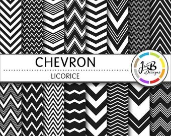 Chevron Digital Paper, Licorice, Black, White, Chevron, Zig Zag, Digital Paper, Digital Download, Scrapbook Paper, Digital Paper Pack