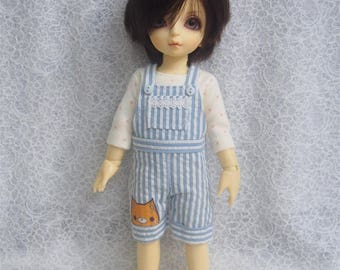 Super Dollfie Yo SD Blue Stripe Overalls