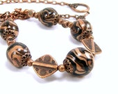 Polymer Clay Jewelry, Beaded Necklace, Black and Copper Necklace, Rustic Necklace, Copper Jewelry, Handmade for Women, Beaded Jewelry