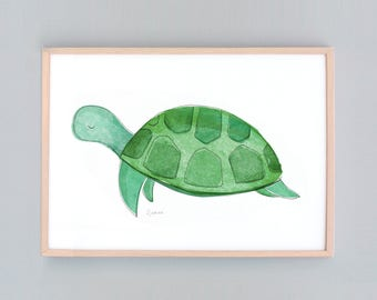 Small to Large Art Print, Sea Creatures, Baby Nursery Art, Turtle Wall Prints, Turtle Wall Art, Green, Baby Turtle Art