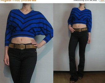 FALL SALE 70s WOOL Chevron Cropped Vintage Jeff Laurent Blue Black Knit Striped Bat Wing Sleeve V Neck Crop Sweater Top xs Small 1970s 1980s