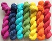 Rainbow kit of mini skeins handspun merino wool - 135gr 700m