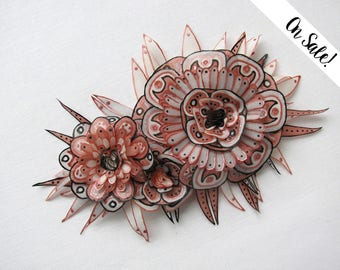 Grey, copper, blush rose, pink silk flowers brooch - hand painted silk brooch - Statement brooch ***Item on sale*** Previous price : 62 EUR