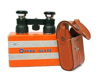 Vintage Opera Glasses  -  Black Theater Binoculars  -  Steampunk Optics  -  New Old Stock Men's Theatre Glasses in Leather Carrying Case