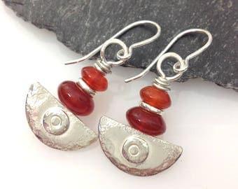 handmade silver and  carnelian earrings orange Ulu blade
