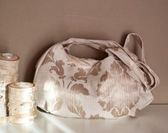 Cream Damask Three Pocket Purse, Hobo Bag, Shoulder Purse, Off White Damask Wallpaper Print Fabric