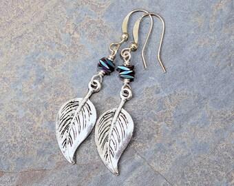 Blue Leaf Earrings, Spring Earrings, Hematite Earrings, Natural Stone Earrings, Dangly Earrings, Blue Earrings, Metallic Handmade Earrings