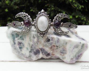 The High Priestess -- Triple Moon Ritual Circlet // Tiara // Diadem -- with Genuine Rainbow Moonstone & Amethyst gemstones