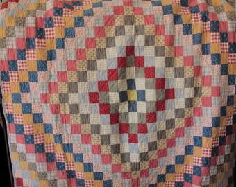 Vintage Quilt Handmade Coverlet Antique Bedding 1920s Cabin Cottage Country Decor