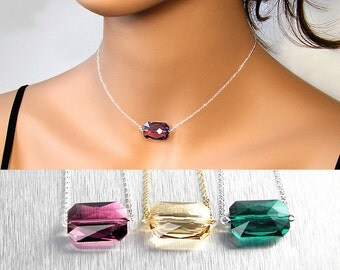 Emerald Cut Necklace, Swarovski Crystal Necklace, Sterling Silver or Gold, Amethyst Necklace, Golden Champagne, Modern Geometric Necklace