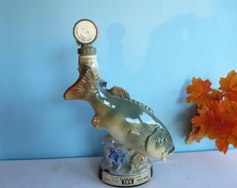 Vintage Jim Beam Whiskey Collectible Decanter - National Fresh Water Fishing Hall of Fame - Behold The Angler