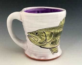 Bass Mug, Wheel Thrown Coffee Mug with Florida Black Bass, Hand Painted with Purple Inside, Fish Pottery, Bass Art, Lake House Decor.
