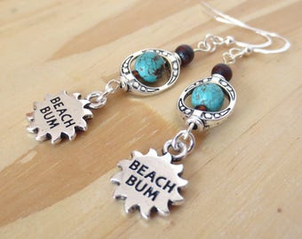 Turquoise Dangle Earrings - Sterling Silver Earring Wires - Beach Bum Sun Charms - Ornate Silver Bead Frames - Genuine Turquoise Beads