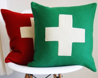 Wool Pillow Cover - green and white - red and white - 18x18 - first aid - swiss army cross  - Made in Oregon - made to order