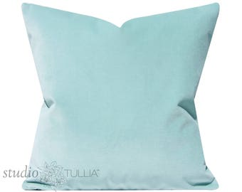Glacier Velvet Pillow Cover - icy blue - blue green -  Pillow Cover - Decorative Pillow - cotton velvet - mint - celadon -  ready to ship