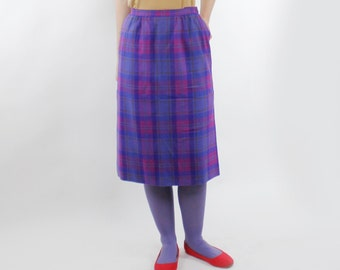 Vintage 80's Pendleton brand wool skirt, bright purple / magenta / turquoise, below the knee, has pockets - Medium