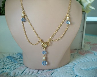 Light Blue Crystal Victorian or Edwardian Style Necklace