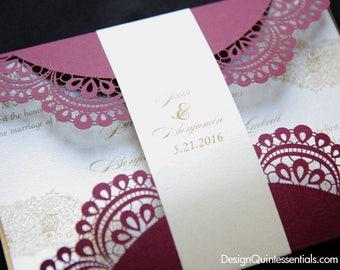 Doiley Laser Cut Gatefold Wedding Invitation, Elegant Design Burgundy Gold & Champagne