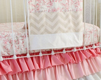 Pink, Taupe, and White Baby Girl Bedding 3-Piece Bumperless Set for Custom Nursery with Ombre Ruffle Skirt and Gold Shimmer Accents