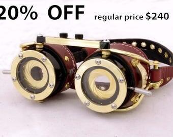 Steampunk Goggles Dual Iris Aperture Victorian Theatrical Goth Industrial Brass LARP Brown