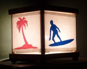 Surf Girl Night Light Lamp Surfboard Palm Tree Decor
