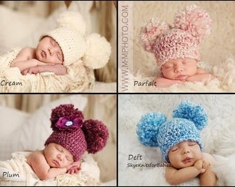 Crochet Baby Hat, Baby Pom Pom Hat, Double Pom Pom Hat, Baby Girl Boy, Newborn Pom Pom Beanie, Newborn Photography Prop, Newborn Photo Prop