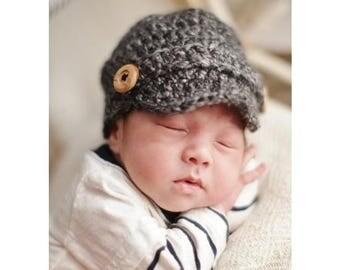 Baby Newsboy Hat, Newborn Newsboy Cap, Baby boy Hat, Baby Newsgirl Hat, Crochet Baby Hat, Crochet Newsboy Cap, Newborn Photo Prop