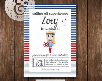 SUPERHERO GIRL Captain America Party Printable Party Invitations - I design - Red White and Blue - YOU Print