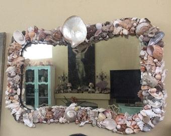 Vintage Over Mantle Mirror Cottage Beach Chic ~ Sea Shells ~ Grotto Art Design