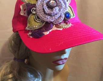 Baseball Cap Hot Pink decorated with A Collage of Lavender Flowers and Assorted Findings