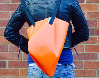 Orange Upcycled Bouncy Castle Vinyl PVC Tote Shopper Bag by Wyatt and Jack Made in the UK