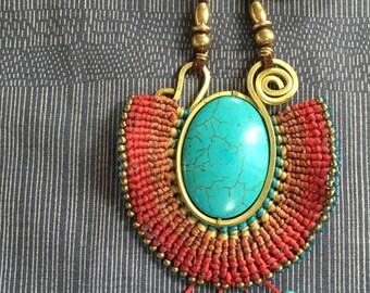 Orange Blue turquoise crochet pendant necklace