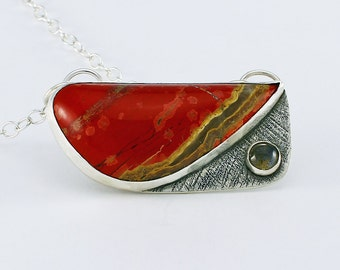 Handcrafted Sterling Silver, Red Jasper & Labradorite Pendant Designer Cabochon OOAK Contemporary Artisan Jewelry Design 20996321112316