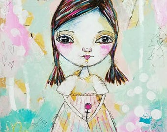 New Giclee art print, Whimsical Folk Art Girl,  Mixed Media and collage, Whimsical Art, Primitive art,Original Art  -by Judie Parsons