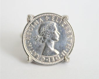 Vintage coin ring.  Sixpence coin ring.  Adjustable coin ring.  British coin
