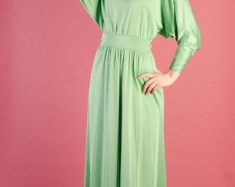 Birthday Sale - 1970s Maxi Dress - Vintage 70s Long Dress - Seaglass Maxi Dress