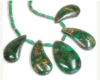Sale| Malachite Gemstone Necklace - Collar - Bib - Gemstone Statement Necklace - Emerald Green - 5 pc Graduating Teardrops - Copper Malachit