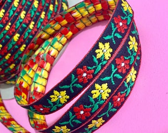 Vintage Jacquard Ribbon, 1 Yards, Vibrant Red and Yellow Flowers on Black, Bohemian Sewing Trim, Flower Power, 9/16 inches wide