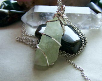 Natural Green Calcite Raw Gemstone Necklace