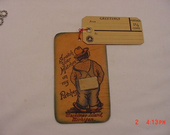 Vintage Mackinac Island, Michigan Scratch Your  Matches On My Patches Leather Souvenir Post Card   16 - 753